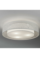 White fabric ceiling light with double shade. Hind Rabii.