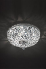 Transparent ceiling lamp in carved crystal. Italamp.