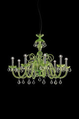 Green crystal chandelier and transparent drops in Swarovski Evergreen. Italamp.