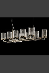 Quarzo contemporary chandelier LED lighting 10 lights. Italamp.