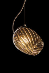 Tulip glass pendant in twisted taupe glass NUCE. Italamp.