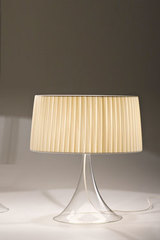 CIGNO table lamp in glass and pleated beige shade 45cm. Italamp.
