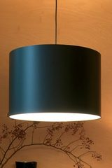 Black carbon fiber Half Moon table lamp ivory interior of lampshade. Karboxx.