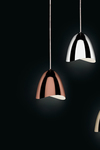 Mirage pendant polished copper bell and LED lighting. Karboxx.