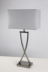 Lampe de table en nickel noir poli Hester. Le Dauphin.