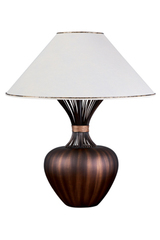Gold brushed brown ceramic table lamp TAFNA. Le Dauphin.