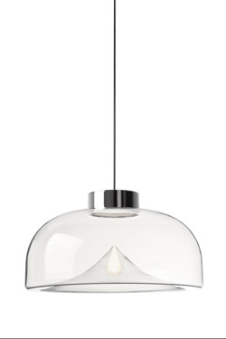 Aella mini suspension en verre transparent, design année 70 grand modèle. Leucos.