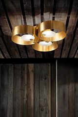 Contemporary gold ceiling light, 3 lights Sound collection. Masiero.