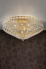 Large ceiling lamp 12 lights gold and crystal. Masiero.