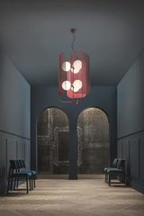Burgundy red chandelier 6 lights double height Papilio. Masiero.