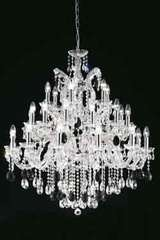 Clear Bohemian crystal chandelier in chrome-plated metal . Masiero.