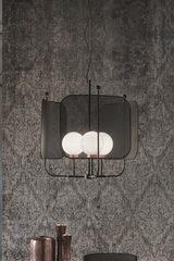 Contemporary black and copper chandelier Papilio. Masiero.
