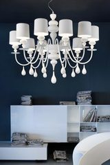 Eva ten lights chandelier in resin and matt white lacquered polyurethane. Masiero.