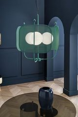 Fir green chandelier 3 lights, contemporary style Papilio. Masiero.