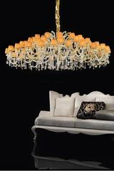 Luxury orange and gold crystal chandelier . Masiero.