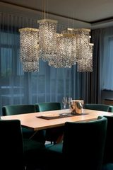 Skyline 12-light smoked crystal chandelier. Masiero.