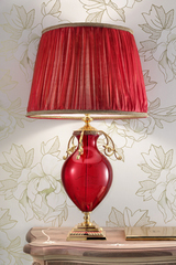 Lampe de table rouge en verre. Masiero.