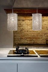 Aurea pendant lamp with transparent drops. Masiero.