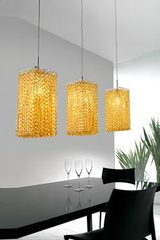 Aurea small pendant in cut crystal and chromed metal. Masiero.