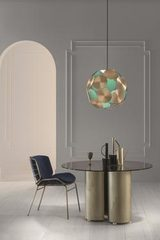 Contemporary pendant lamp in patinated brass Timeo. Masiero.