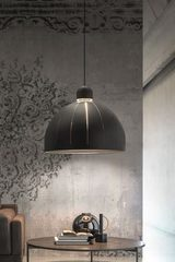 Cupole pendant black grained look white interior 80cm. Masiero.