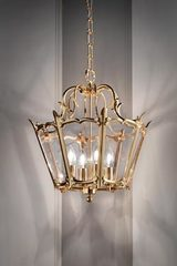 Hanging lamp golden lantern 4 lights. Masiero.