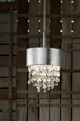 Ola pendant in silver-plated metal with silver leaf. Masiero.