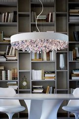 Very large Ola pendant in matt white painted metal. Masiero.