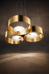 Pendant with 3 golden rings and white glass diffuser Sound. Masiero.