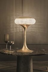 Cristalis table lamp in brushed brass 42cm. Masiero.