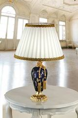 Ottocento blue crystal and gold-plated table lamp with white silk shade. Masiero.