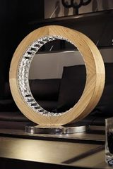 Round table lamp in solid oak and crystal Libe TL 40. Masiero.