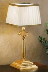 Small gold-plated bronze table lamp with square base. Masiero.