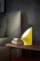 Yellow Mabell table lamp in expanded polyurethane diffuser in matt chrome methacrylate. Masiero.