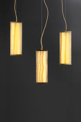 Triple pendant in yellow onyx TECH. Matlight.