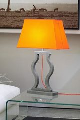 Table lamp orange taffeta shade white interior Classic. Matlight.