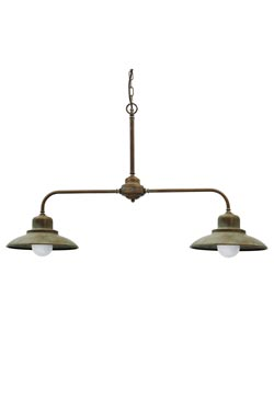Suspension double en laiton vieilli. Moretti Luce.