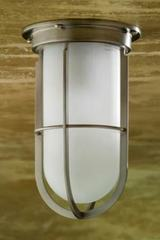 Docklight Ceiling matt nickel-plated bronze with sand-blasted glass. Nautic by Tekna.