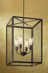 Ilford Large antique bronze and clear glass pendant. Nautic by Tekna.