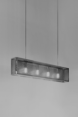 Portreath Mesh-C rectangular chrome metal pendant. Nautic by Tekna.