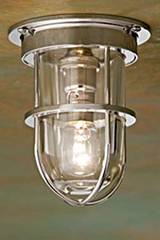 Plafonnier en bronze nickelé poli verre clair Bounty Ceiling 12V . Nautic by Tekna.