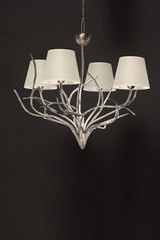 4 lights chandelier in silver bronze. Objet insolite.