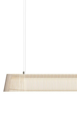 Owalo Suspension longue en bouleau naturel. Secto Design.