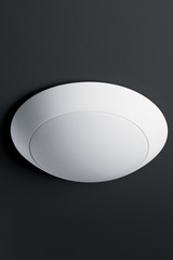 Futuristic ceiling light in white plaster and white frosted glass. Sedap.
