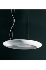 Halo circular suspension, powerful and indirect lighting. Sedap.