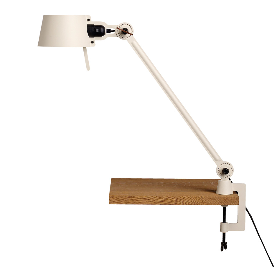 Large Bolt Desk lamp with one arm only, and a vice clamp. Creme white.. Tonone.