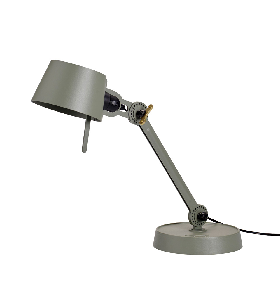 Small Bolt Desk lamp with one arm only, and a base. Moss-green.. Tonone.
