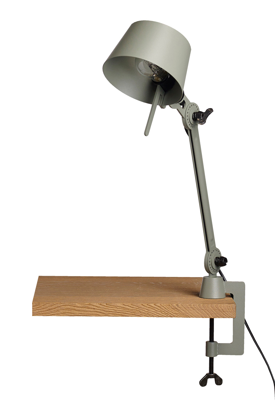 Small Bolt Desk lamp with one arm only, and a vice clamp. Khaki. Tonone.