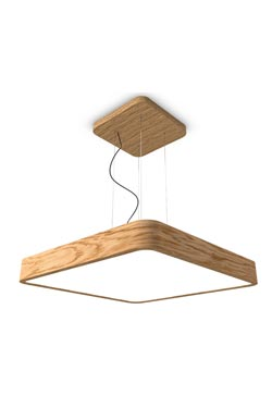 WoodLED suspension carrée en chêne 90cm. Trilum.