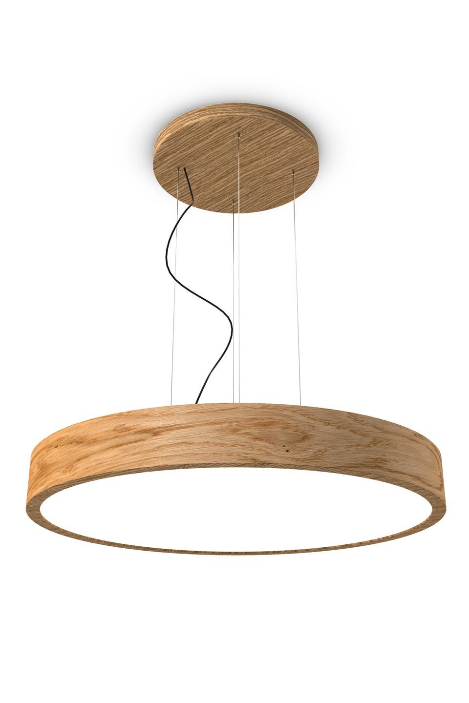 WoodLED suspension ronde en chêne 90cm. Trilum.